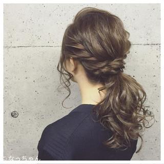 パーティ ナチュラル ポニーテール ロング ヘアスタイルや髪型の写真・画像