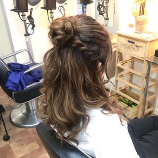 お団子アレンジ ハーフアップ ロング ヘアアレンジ ヘアスタイルや髪型の写真・画像