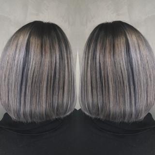 グラデーションカラー バレイヤージュ ボブ 外国人風カラー ヘアスタイルや髪型の写真・画像