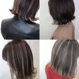 ハイライト ミニボブ グレージュ 切りっぱなしボブ ヘアスタイルや髪型の写真・画像