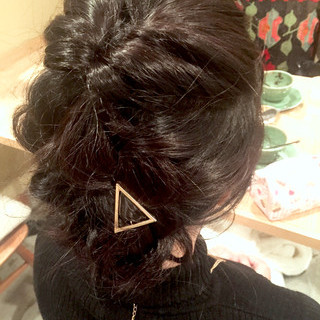 セミロング 簡単ヘアアレンジ 編み込み ヘアアレンジ ヘアスタイルや髪型の写真・画像
