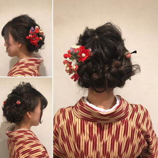 謝恩会 成人式 四つ編み ロング ヘアスタイルや髪型の写真・画像