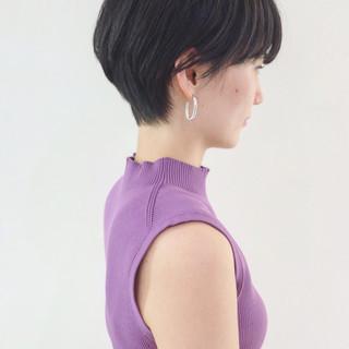 大人女子 マニッシュ ショートボブ オフィス ヘアスタイルや髪型の写真・画像