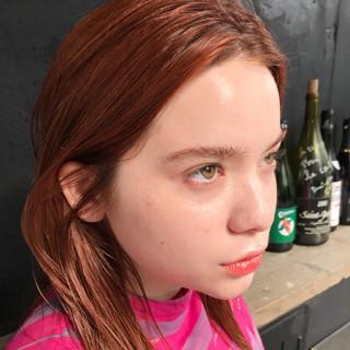 オレンジカラー セミロング モード デート ヘアスタイルや髪型の写真・画像