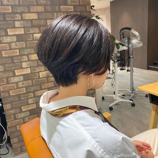 アイロンワーク 透明感カラー ショートボブ ショート ヘアスタイルや髪型の写真・画像