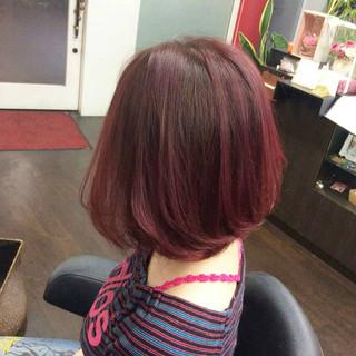 ナチュラル ボブ ヘアカラー ピンクカラー ヘアスタイルや髪型の写真・画像