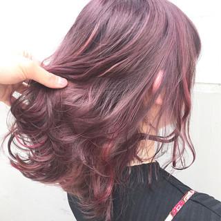 ハイライト ガーリー インナーカラー ミルクティー ヘアスタイルや髪型の写真・画像
