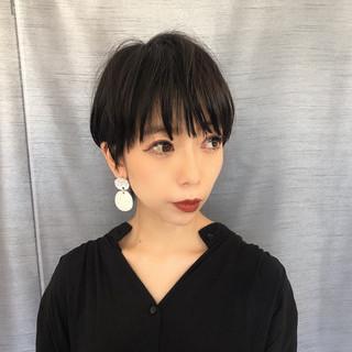 黒髪 ベリーショート 黒髪ショート ナチュラル ヘアスタイルや髪型の写真・画像