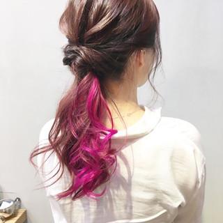 簡単ヘアアレンジ セミロング ピンクベージュ ピンクアッシュ ヘアスタイルや髪型の写真・画像