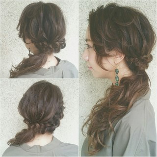 ショート 簡単ヘアアレンジ 大人かわいい セミロング ヘアスタイルや髪型の写真・画像