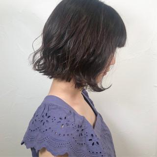 黒髪 フェミニン ボブ 切りっぱなしボブ ヘアスタイルや髪型の写真・画像
