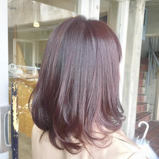 セミロング ピンク ガーリー パープル ヘアスタイルや髪型の写真・画像