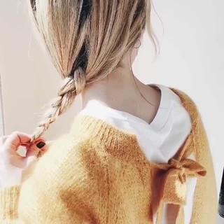 ナチュラル デート セミロング 簡単ヘアアレンジ ヘアスタイルや髪型の写真・画像