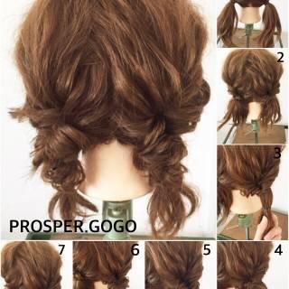 セルフヘアアレンジ ヘアアレンジ ナチュラル ショート ヘアスタイルや髪型の写真・画像 ヘアスタイルや髪型の写真・画像