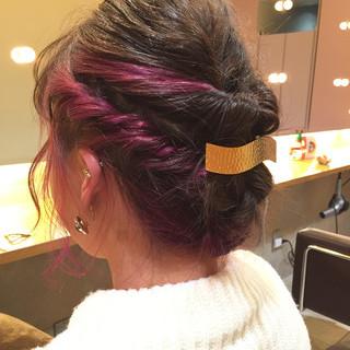 ショート 編み込み 簡単ヘアアレンジ ねじり ヘアスタイルや髪型の写真・画像