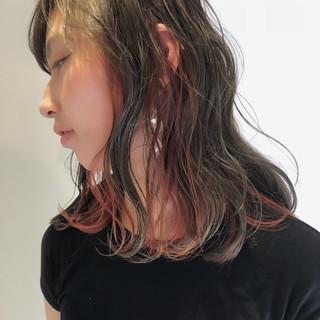透明感 ロブ アウトドア ストリート ヘアスタイルや髪型の写真・画像