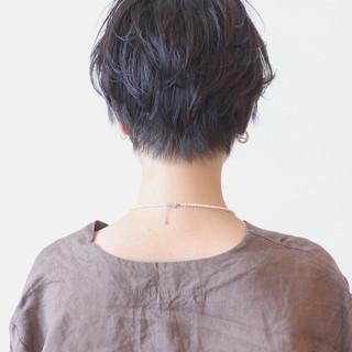 パーマ 暗髪 ショート 黒髪 ヘアスタイルや髪型の写真・画像