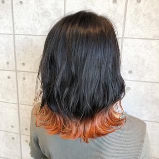 モード アプリコットオレンジ イルミナカラー 裾カラー ヘアスタイルや髪型の写真・画像