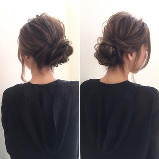 まとめ髪 ロング こなれ感 編み込み ヘアスタイルや髪型の写真・画像