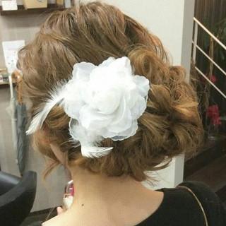 ナチュラル ヘアアレンジ セミロング サイドアップ ヘアスタイルや髪型の写真・画像