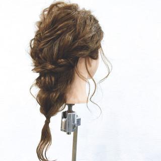 二次会 ヘアアレンジ セミロング 結婚式 ヘアスタイルや髪型の写真・画像