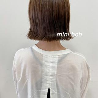 ミニボブ 外ハネボブ ボブ 切りっぱなしボブ ヘアスタイルや髪型の写真・画像