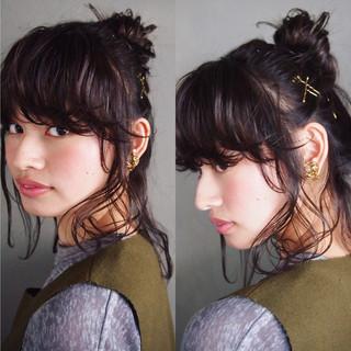 ショート 簡単ヘアアレンジ ナチュラル 黒髪 ヘアスタイルや髪型の写真・画像