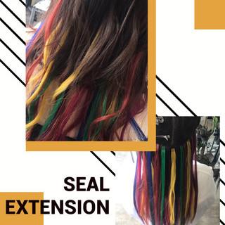 ミディアム エレガント 派手髪 エクステ ヘアスタイルや髪型の写真・画像