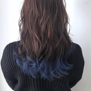 外国人風カラー 透け感 ロング ブルー ヘアスタイルや髪型の写真・画像