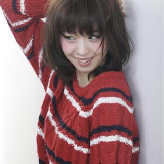 ガーリー ミディアム ブラウン パーマ ヘアスタイルや髪型の写真・画像