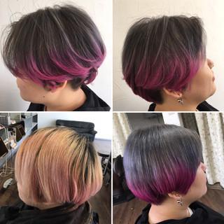ストリート アッシュグレージュ ブリーチカラー ショート ヘアスタイルや髪型の写真・画像