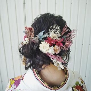 成人式 アップスタイル ロング ゆるふわ ヘアスタイルや髪型の写真・画像