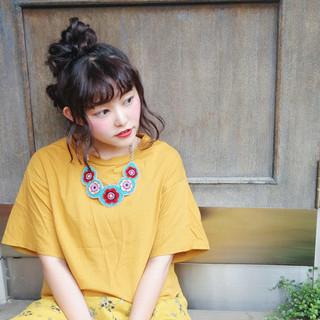 ヘアアレンジ お団子 大人かわいい ゆるふわ ヘアスタイルや髪型の写真・画像