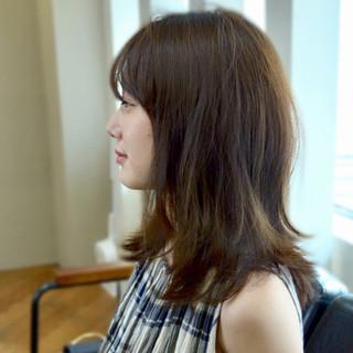 ミディアム 透明感 大人女子 前髪あり ヘアスタイルや髪型の写真・画像