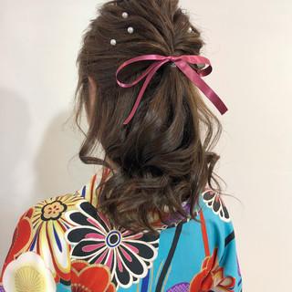 卒業式 ミディアム 和装ヘア 波ウェーブ ヘアスタイルや髪型の写真・画像