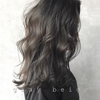 暗髪 ブルーブラック ナチュラル グレージュ ヘアスタイルや髪型の写真・画像