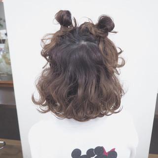 ヘアアレンジ ミディアム ゆるふわ ハーフアップ ヘアスタイルや髪型の写真・画像
