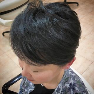 ナチュラル ブルー アラフォー ショート ヘアスタイルや髪型の写真・画像