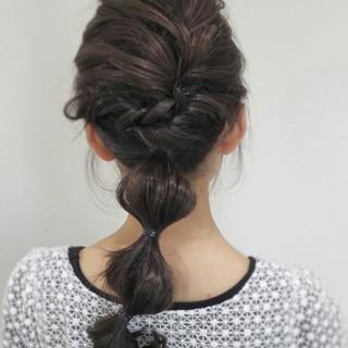編み込み ショート セミロング アッシュ ヘアスタイルや髪型の写真・画像