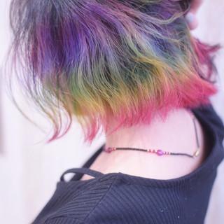 ボブ ユニコーンカラー ショートボブ ミニボブ ヘアスタイルや髪型の写真・画像
