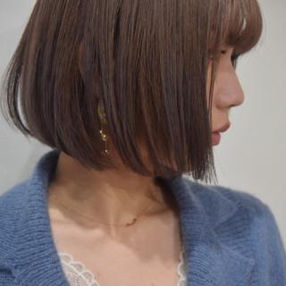 ミルクティーブラウン ブラウン ブラウンベージュ ショートボブ ヘアスタイルや髪型の写真・画像