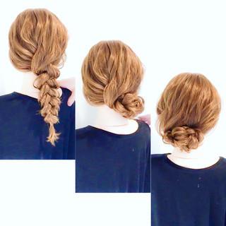 ロング ヘアアレンジ アップスタイル 編みおろし ヘアスタイルや髪型の写真・画像