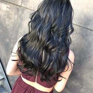 ネイビー コリアンネイビー ネイビーブルー ネイビーアッシュ ヘアスタイルや髪型の写真・画像