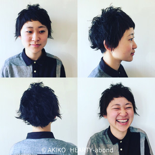 前髪あり ショート パーマ 黒髪 ヘアスタイルや髪型の写真・画像