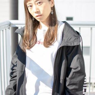 透明感 女子力 セミロング ストリート ヘアスタイルや髪型の写真・画像
