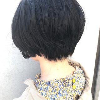 小顔ヘア デート ショート 黒髪ショート ヘアスタイルや髪型の写真・画像