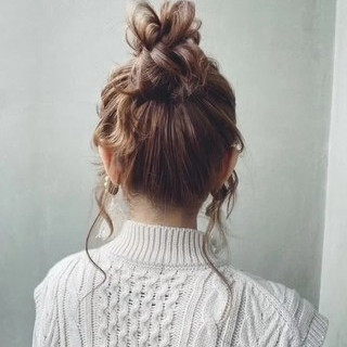 ナチュラル 簡単ヘアアレンジ ヘアアレンジ セミロング ヘアスタイルや髪型の写真・画像