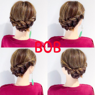アウトドア ボブ 結婚式 フェミニン ヘアスタイルや髪型の写真・画像