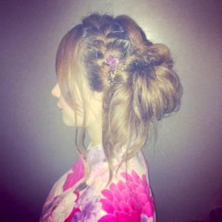 愛され コンサバ お祭り ヘアアレンジ ヘアスタイルや髪型の写真・画像 ヘアスタイルや髪型の写真・画像