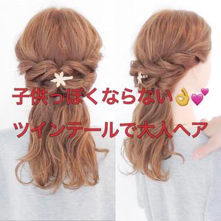 ロング くるりんぱ 簡単ヘアアレンジ フェミニン ヘアスタイルや髪型の写真・画像